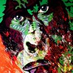 Gorilla (100x150cm), Öl und Acryl auf Leinwand