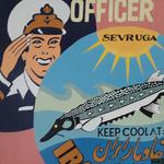 Officer meets Sevruga (80x80 cm), Öl auf Leinwand